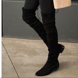 Shoes - Over the knee black vegan suade boots